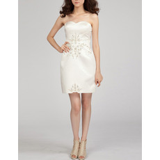 Girls Column Sweetheart Short Satin Bodycon Homecoming/ Cocktail Dress