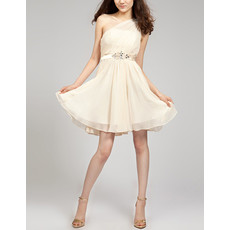 Junior Girls Modest One Shoulder Mini/Short Chiffon Homecoming Dress with Belts
