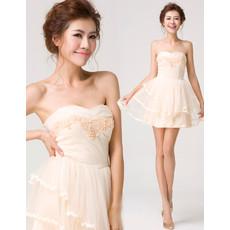 Junior Girls Cute A-Line Sweetheart Mini Satin Tulle Homecoming Dress