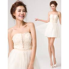 A-Line Strapless Mini Chiffon Beading Homecoming Dress