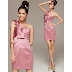 Girls Pretty Column One Shoulder Mini Satin Homecoming Dress