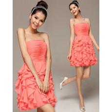 Girls Beautiful A-Line Strapless Mini/ Short Chiffon Ruffle Homecoming Dress