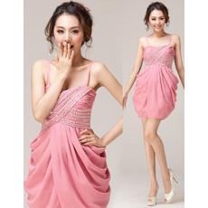 Girls Classy Column Spaghetti Straps Mini Chiffon Homecoming Dress