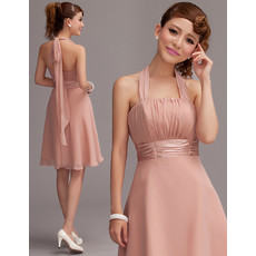 A-Line Halter Empire Short Chiffon Homecoming Dress