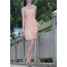 Affordable Column Strapless Mini Chiffon Bodycon Homecoming/ Cocktail Dress