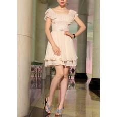 Girls Pretty Square Cap Sleeves Short Chiffon Layered Homecoming Dress