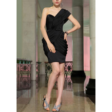 Girls Column One Shoulder Mini Chiffon Satin Black Bodycon Homecoming Dress