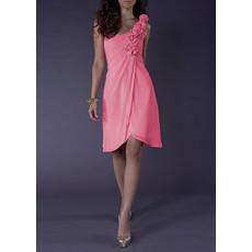Junior Girls One Shoulder Sleeveless Short Pink Chiffon Homecoming Dress