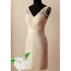 Simple Classy Sheath V-Neck Short Lace Reception Wedding Dress