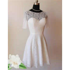 Stylish A-Line Lace Short Recption Wedding Dress with Sleeves
