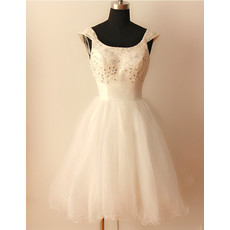 Classic Ball Gown Cap Sleeves Short Satin Tulle Wedding Dress
