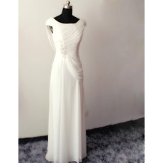 Amazing Modern Sheath Sleeveless Floor Length Chiffon Wedding Dress