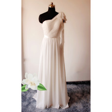 Modest Column One Shoulder Floor Length Chiffon Wedding Dress