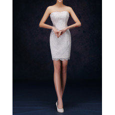 Informal Simple Column Strapless Sleeveless Short Lace Petite Wedding Dress