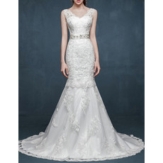 Mermaid V-Neck Sleeveless Sweep Train Satin Wedding Dress