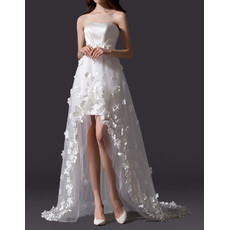Strapless High-Low Satin Tulle Applique Wedding Dress