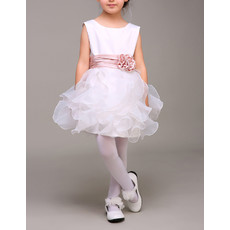 Sleeveless Short Ruffle Skirt Flower Girl Dress with Belts