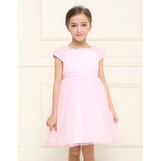 Designer Empire Short Pink Flower Girl Dress with Cap Sleeves