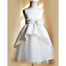 Lovely Girls Floor Length Satin Tulle Holy First Communion Dress