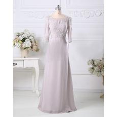 Designer Elegant A-Line Floor Length Chiffon Mother Dress with 3/4 Sleeves