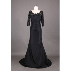 2018 Trendy Trumpet Long Black Formal Mother Dress with 3/4 Lace Sleeves