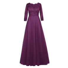 Discount Custom A-Line Empire Long Purple Plus Size Mother of the Bride Dress with 3/4 Sleeves