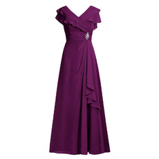 Modest V-Neck Long Purple Chiffon Plus Size Mother of the Bride/ Groom Dress