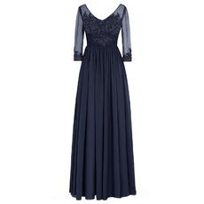 2018 Elegant V-Neck Floor Length Chiffon Plus Size Formal Mother Dress with 3/4 Sleeves