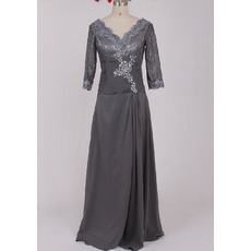 Custom Designer Floor Length Chiffon Plus Size Mother Dress with 3/4 Lace Sleeves
