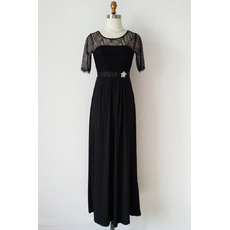 Inexpensive Designer Long Chiffon Black Mother Dress with Half Lace Sleeves