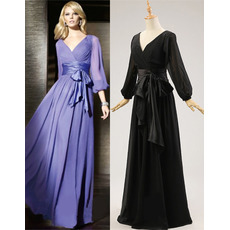 Designer Elegant V-Neck Long ChiffonFormal Mother Dress with Long Sleeves