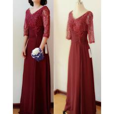 Designer Elegant V-Neck Floor Length Chiffon Formal Mother Dress with Lace Sleeves