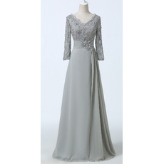 Designer Modest Long Chiffon Formal Mother Dress with Long Lace Sleeves