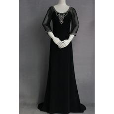 Custom Modern Sheath Chiffon Black Mother Dress with 3/4 Long Sleeves