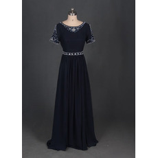 Discount Beautiful Long Black Chiffon Formal Mother Dress with Short Sleeves