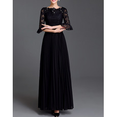 Elegant Chiffon Lace Pleated Plus Size Mother Dress with Trumpet Sleeves