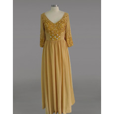 Cheap Custom V-Neck Chiffon Beaded Mother Dress with 3/4 Long Sleeves