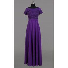 2018 Modest Long Purple Chiffon Embroidery Formal Mother Dress with Short Sleeves