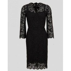 Modest Casual Column Knee Length Lace Black Plus Size Mother Dress with Lace Sleeves