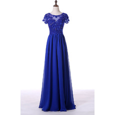 Custom Elegant A-Line Long Blue Chiffon Mother Dress with Short Sleeves and Sequins