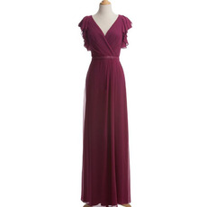 Inexpensive Elegant Column V-Neck Chiffon Mother Dress with Cap Sleeves