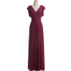 Inexpensive Elegant Column V-Neck Chiffon Mother Dress with Cap Sleeves