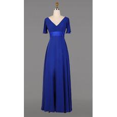 2018 Designer V-Neck Floor Length Chiffon Formal Mother Dress with Short Sleeves