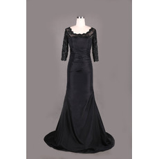 Custom Designer Long Taffeta Black Formal Mother Dress with 3/4 Long Lace Sleeves