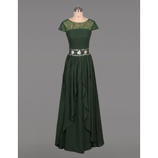 Classic vintage Floor Length Chiffon Mother Dress with Short Sleeves