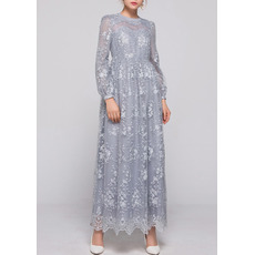 Elegant Empire Ankle Length Lace Plus Size Mother Dress with Long Sleeves