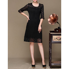 Beautiful Knee Length Lace Pleated Black Formal Mother Dress with Half Sleeves