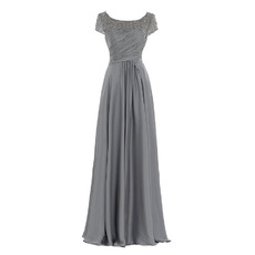 Elegant Modest Long Chiffon Mother of the Bride Dress with Short Sleeves