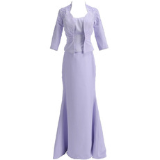 Inexpensive Mermaid Floor Length Satin Two Piece Formal Mother Dress with Jackets