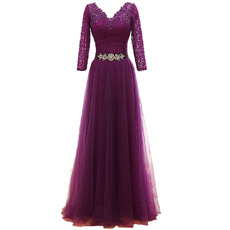 Modern V-Neck Tulle Mother Dress with 3/4 Long Lace Sleeves